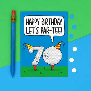 Funny Birthday Card 70th Milestone Gift Golf Lover Lets Party Pun TeePee Creations Big Celebration Dad Grandad Brother Uncle Numbered Present Confetti Golfer Token Male Greetings For Men