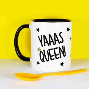 "Black and white mug that says ""Yaaas Queen"", surrounded by black stars and a crown on the Q."
