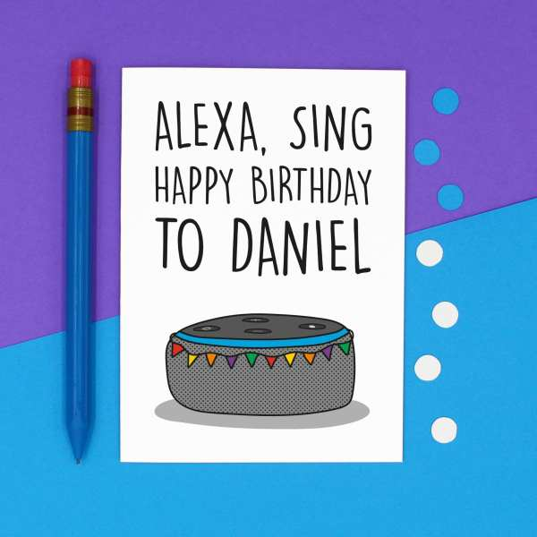 Alexa Birthday TeePee Creations Confetti Card Customisable Personalised Gift Funny Tech Lover Present Command Joke Sing Happy Nerdy Geek Technology Illustration