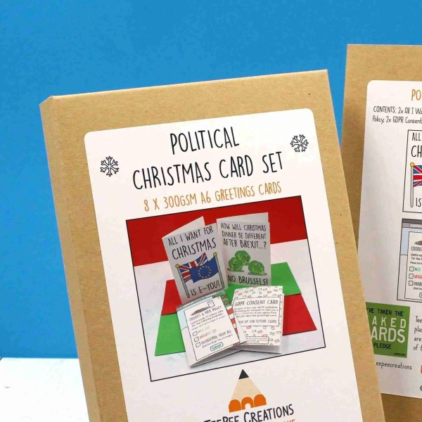 Political Christmas cards packaging zoomed in to front