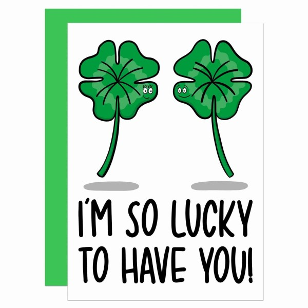 TeePee Creations, Valentines Day Card, Anniversary Gift, Confetti Card, Lucky To Have You, Irish Pun Joke, Just Because, Cute Love Drawing, Boyfriend Girlfriend, Husband Wife, Funny Illustration, Leprechaun Charm, Four Leaf Clover