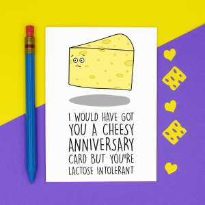 TeePee Creations, Anniversary Card, Confetti Card, Lactose Intolerant, Dairy Free Joke, Cheesy Pun, Funny Illustration, Rude Greetings, Boyfriend Girlfriend, Cheese Humour, Husband Wife, Allergy Gift, Food Intolerance