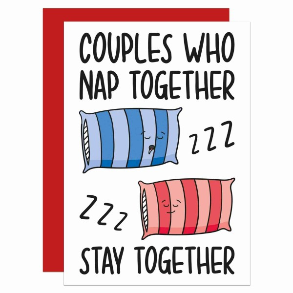 Funny Pun Card TeePee Creations Confetti Anniversary Valentines Day NappingLong Term Couples Partner Nap Together Sleep Husband Wife Girlfriend Boyfriend Netflix Fun Joke Illustration Bed Pillow Drool Snoring Husband Wife