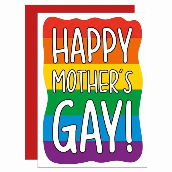 Funny Pun Card TeePee Creations Confetti Gay Mothers Day LGBTQ Pride Mum Homosexual Rainbow Flag Happy Stepmum Illustration Fun Colourful Bright Lesbian