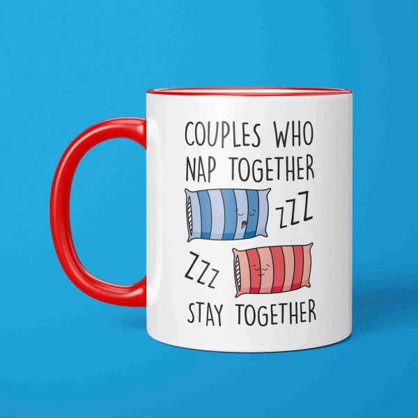 Funny Pun Mug, Couples Who Nap, Valentines Day Gift, Anniversary Present, Napping Partner, Snoring Joke, Marriage Goals, Sleep Together, Drooling Pillow, Boyfriend Girlfriend, Bed Illustration, Lazy Drawing, Cute Adorable