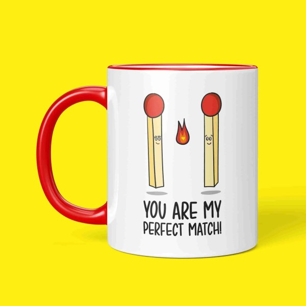Funny Pun Mug Perfect Match Valentines Day Gift Anniversary Just Because Boyfriend Girlfriend Two Tone Red Handle TeePee Creations Present Partner Love Joke Fun Illustration Lighter Fire Adorable Sweet Cute