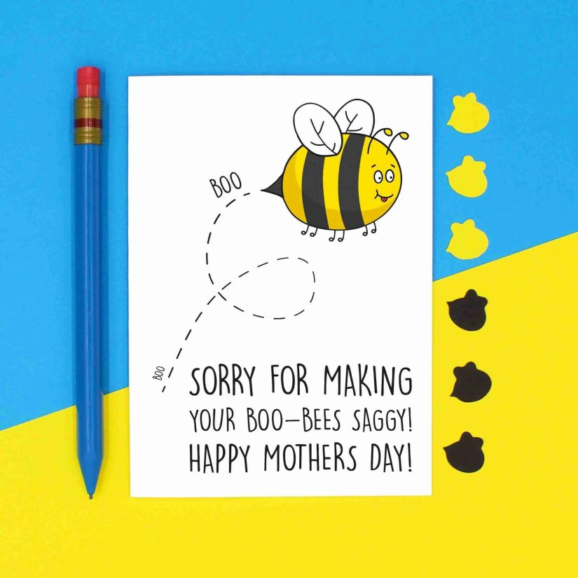 Bee Pun Card, Saggy Boobs Card, Mothers Day Card, Sorry Mum Card, Apology Card, Boobs Pun Card, TeePee Creations, Card for Mum, Breastfeeding Card, Card from Bump, Cheeky Mum Card, Confetti Card, Rude Mum Card