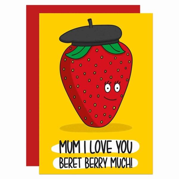 TeePee Creations Confetti Card Strawberry Pun Beret Berry Mothers Day Mum Love Funny Food Stepmum Cute Illustration Fun Joke French Gift Grandma Present