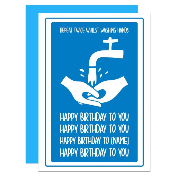 "Blue greetings card with washing hands illustration and phrase ""Repeat Twice Whilst Washing Hands [birthday song]"" on the front."