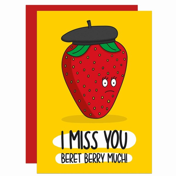 Miss You Card, Long Distance Card, Social Distancing, Self Isolation Card, Strawberry Pun Card, Beret Pun Card, Sending Hugs, Sending Love Card, TeePee Creations, Confetti Card, Funny Love Card, Berry Pun Card, Just Because