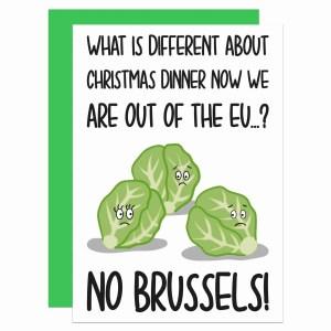 Brexit Christmas, Funny Christmas Card, Brussel Sprouts Pun, TeePee Creations, Christmas Joke Card, Christmas Cracker, Theresa May Card, Boris Johnson Card, Funny Holidays Card, EU Joke Card, European Union, Confetti Card, Political Christmas