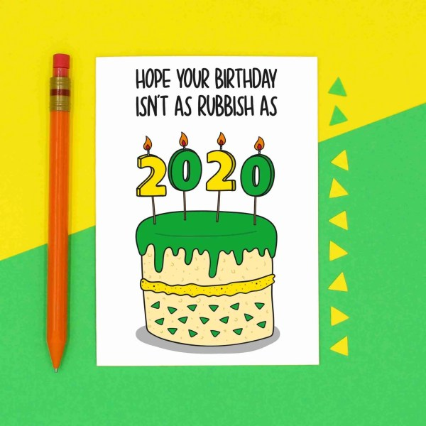 Funny Pun Card, Lockdown Birthday, Rubbish 2020, Shit Year Cake, Confetti Card, Crap Bday Greetings, Social Distancing, Quarantine Joke, Self Isolation, Customisable Design, Boris Johnson, TeePee Creations, Green and Yellow
