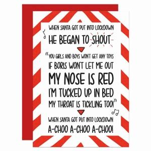 Pun Christmas Card Santa Claus When Got Chimney Achoo 2020 Lockdown Funny Self Isolation TeePee Creations Confetti Speech News Quarantine Boris Johnson Social Distancing Xmas Political Topical Prime Minister Carol