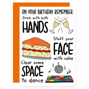 """Greetings card with champagne, cake and dancefloor illustration and the phrase """"Hands Face Space"""" on the front."""