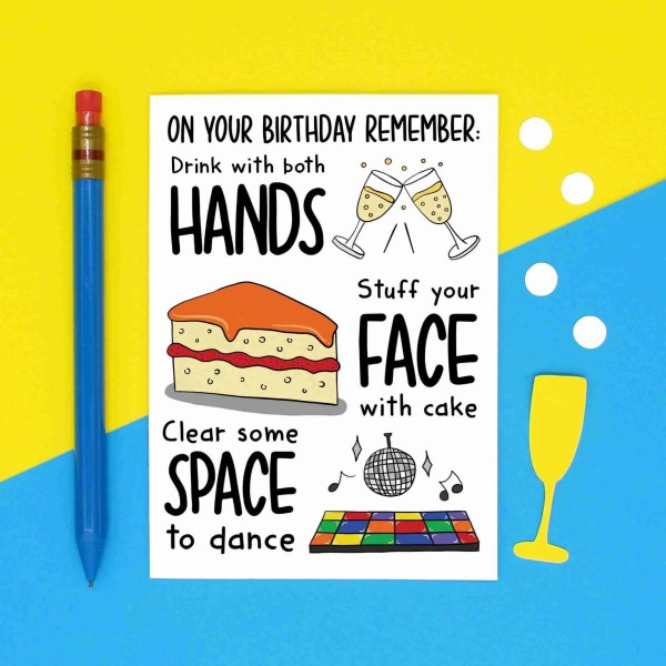 "Greetings card with champagne, cake and dancefloor illustration and the phrase ""Hands Face Space"" on the front."