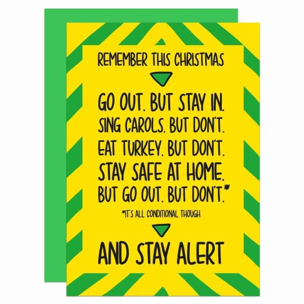 Pun Christmas Card, Social Distancing, Quarantine Joke, Boris Johnson, Stay Alert Phrase, Self Isolation, Funny Greetings, TeePee Creations, Confetti Card, Stay Indoors Gift, News Announcement, Lockdown Speech, Fun Xmas Humour
