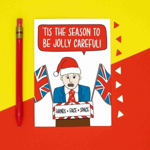 Lockdown Card Boris Johnson Tis The Season Jolly Careful TeePee Creations Quarantine 2020 Christmas Topical Xmas Funny Greetings Social Distancing Prime Minister Santa Claus