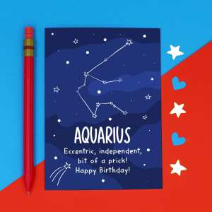 Aquarius Illustration Funny Birthday Card Water Carrier Pun TeePee Creations Confetti Card Rude Brother Joke Cheeky Star Sign Space Constellation January Horoscope Adult Swear Independent Sister Eccentric Prick February Zodiac