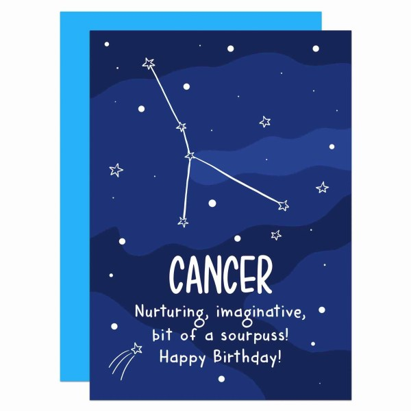 """Blue greetings card with star pattern and cancer constellation with the phrase """"Nurturing, imaginative, bit of a sourpuss! Happy Birthday!"""""""