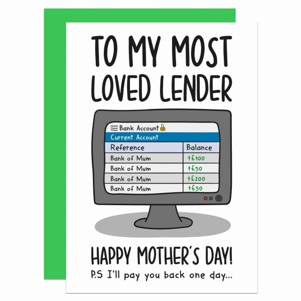 Confetti Card Financial Burden Funny Mum TeePee Creations Mothers Day Cheeky Lender Daughter Son Favourite Spoilt Child Bank Owed Money Customisable Personalised Borrowed