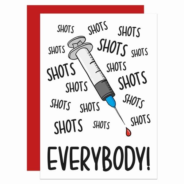 Funny Birthday Congratulations Gift TeePee Creations Confetti Card Boris Johnson Lockdown Quarantine 2021 2020 Present Social Distancing Vaccine Pun Syringe Shot Jab Needle Alcohol Drinks Everybody Song