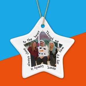 Best Friend Like Stars Quote Christmas Present Customisable Gift Photo Bauble TeePee Creations Tree Decoration Stocking Filler Cute Moving Lockdown Long Distance Going Away Leaving Missing You