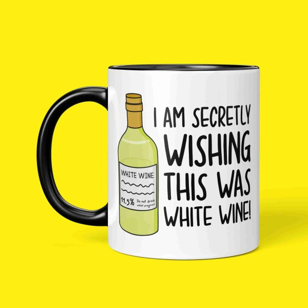 Funny Pun Mug TeePee Creations White Wine Lover Mothers Day Gift Step Mum Present Wishing Birthday Present Secretly Wish Alcohol Joke Zoom Call Present Working From Home New Job Video Meeting