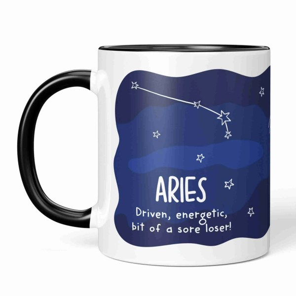 Aries Illustration Funny Birthday Mug Ram Illustration Pun TeePee Creations Christmas Present Rude Sister Brother Joke Cheeky Star Sign Space Constellation March Horoscope Adult Swear Driven Energetic Sore Loser Sister April Zodiac