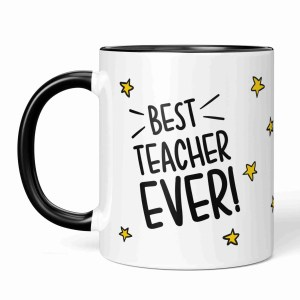 """Black and white mug with star pattern illustration and the phrase """"Best Teacher Ever!"""""""