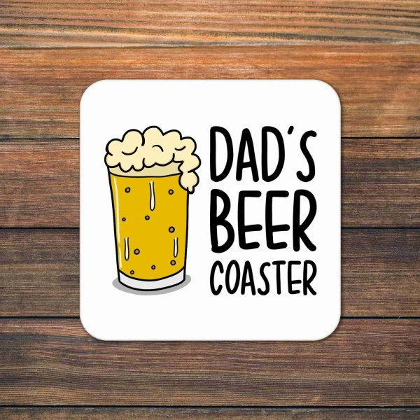 """White coaster with gin bottle illustration and the phrase """"Reserved for Beer"""""""