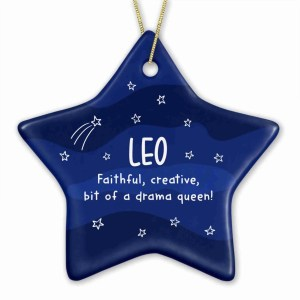 """Star shaped bauble with night sky illustration and the phrase """"Leo faithful, creative, bit of a drama queen!"""""""