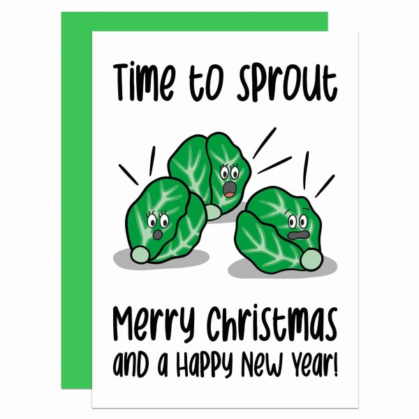"""Greetings card with sprouts illustration and the phrase """"Time to sprout Merry Christmas and a Happy New Year!"""" on the front."""