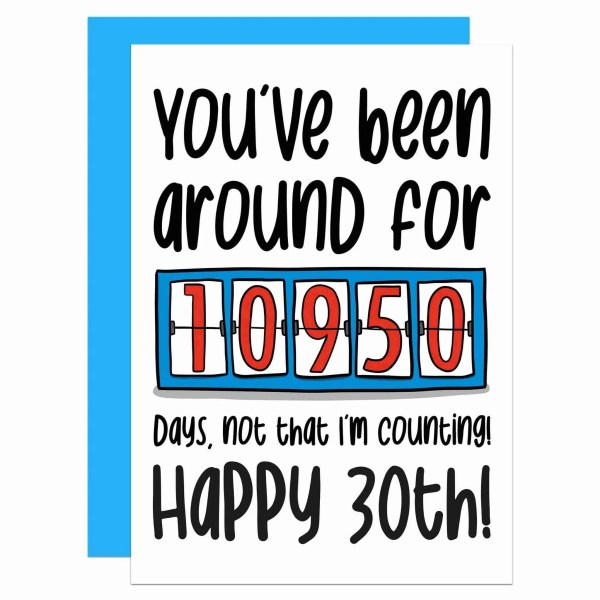 """Greetings card with counter illustration and the phrase """"You've been around for 10950 days, not that I'm counting! Happy 30th!"""" on the front."""