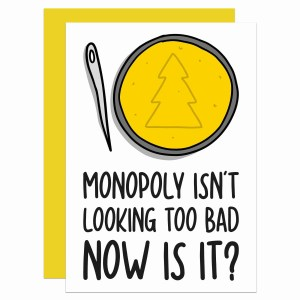 """Greetings card with squid game honeycomb illustration and the phrase """"Monopoly isn't looking too bad now is it?"""""""