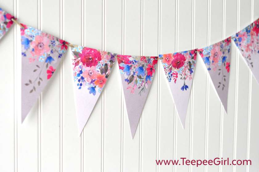 This free Spring Floral Banner is perfect for your mantle, mirror, or anywhere you want to add some color to your home decor! Get it today at www.TeepeeGirl.com!
