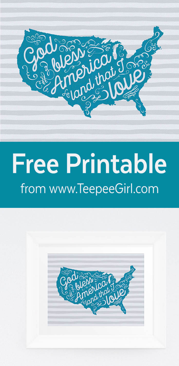 Free 10x8 printable celebrating America & its music from www.TeepeeGirl.com