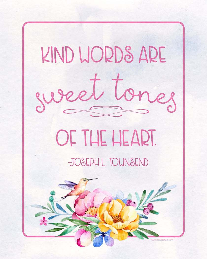 Free Printable for August 2016 Visiting Teaching. This watercolor printable comes in two sizes and reminds us of the importance of kindness. www.TeepeeGirl.com