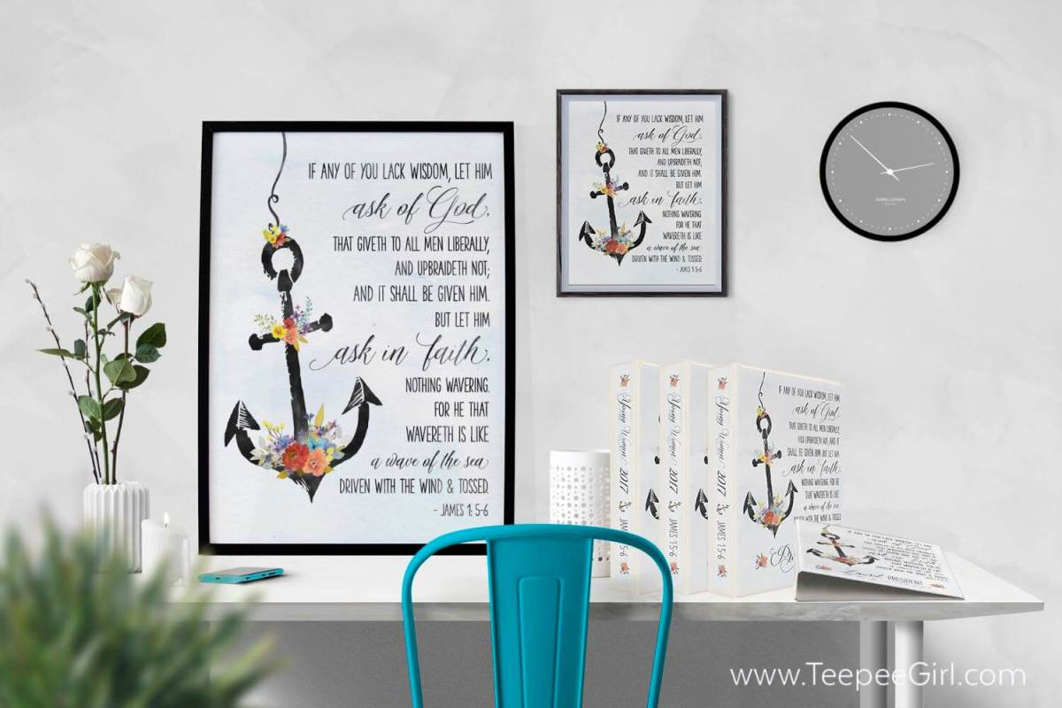 Free posters and binder covers for the 2017 LDS Youth Theme: James 1:5-6. The posters come in 4 sizes and binder covers for the presidency and the class presidency, including secretaries. www.TeepeeGirl.com