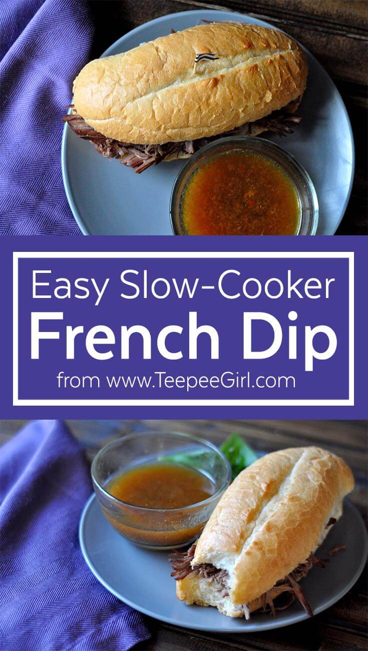This slow-cooker French dip is so easy and delicious! It is literally set-it-and-forget-it, and it only has a few ingredients. www.TeepeeGirl.com