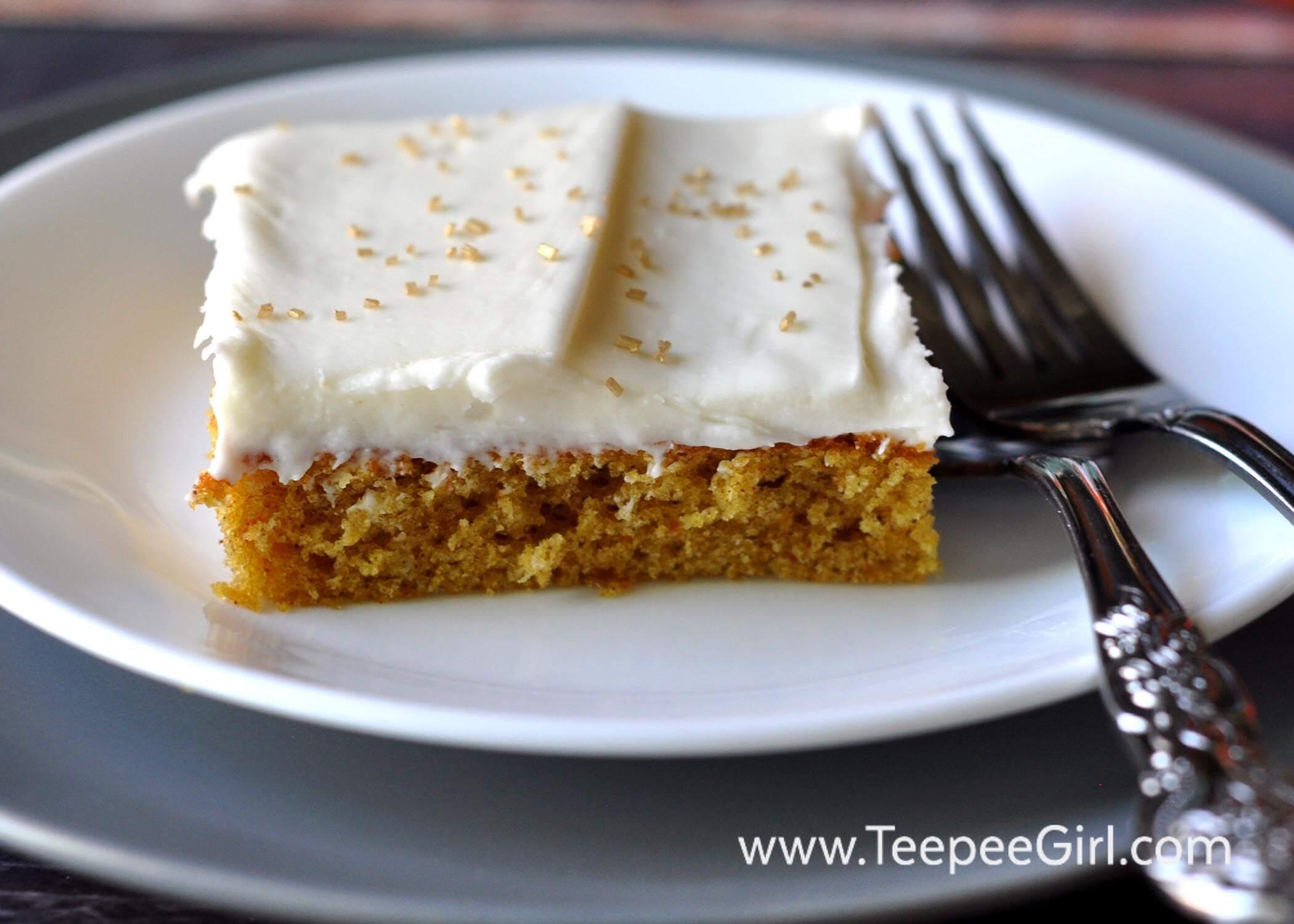 Pumpkin Spice Cake With Orange Cream Cheese Frosting