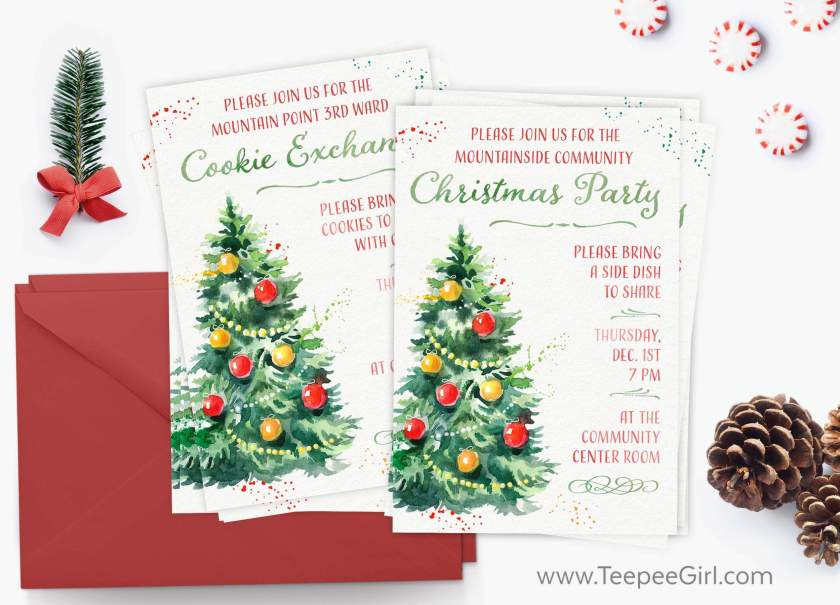 These free Christmas invitations are perfect for all your holiday parties! There are three versions: one blank, one for a Christmas party, and one for a cookie exchange. Each is available as a 4x6 jpeg that can be edited in any photo editing software. Get it today at www.TeepeeGirl.com!