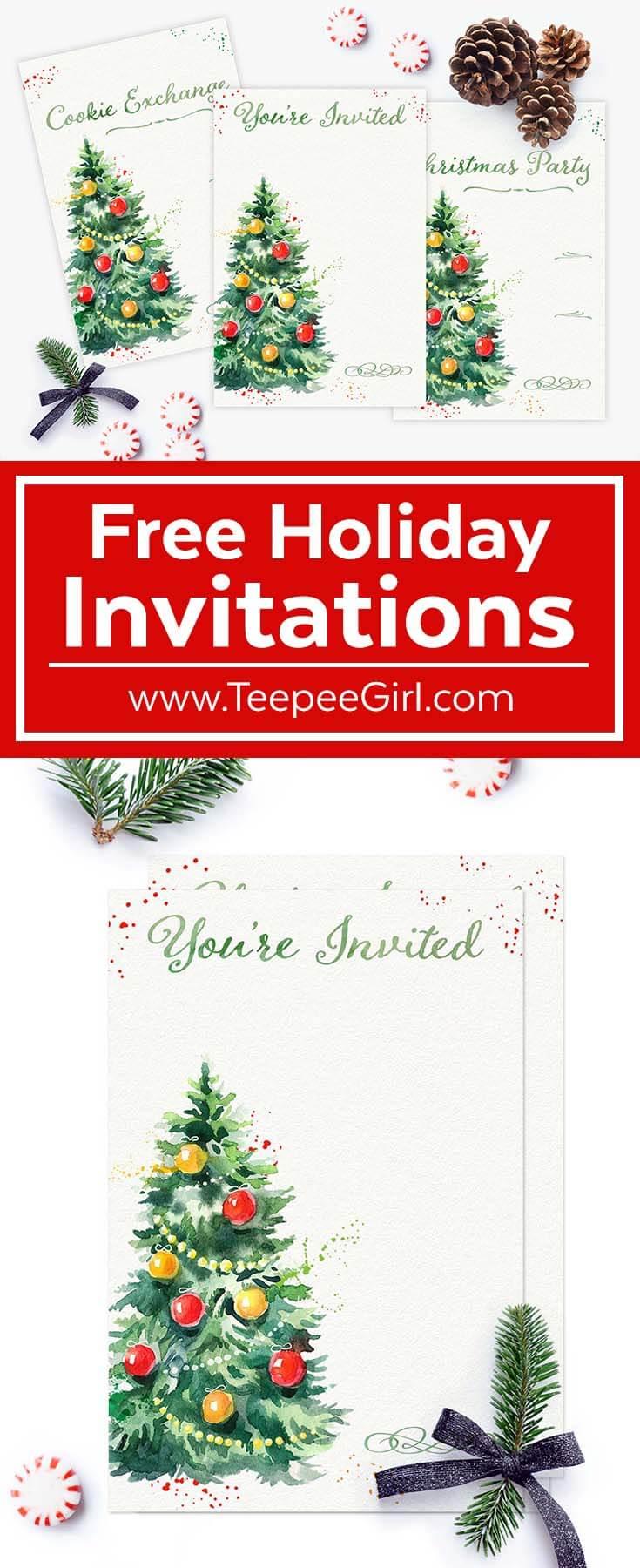 Free Holiday Invitations Teepee Girl – Free Christmas Party Invitation