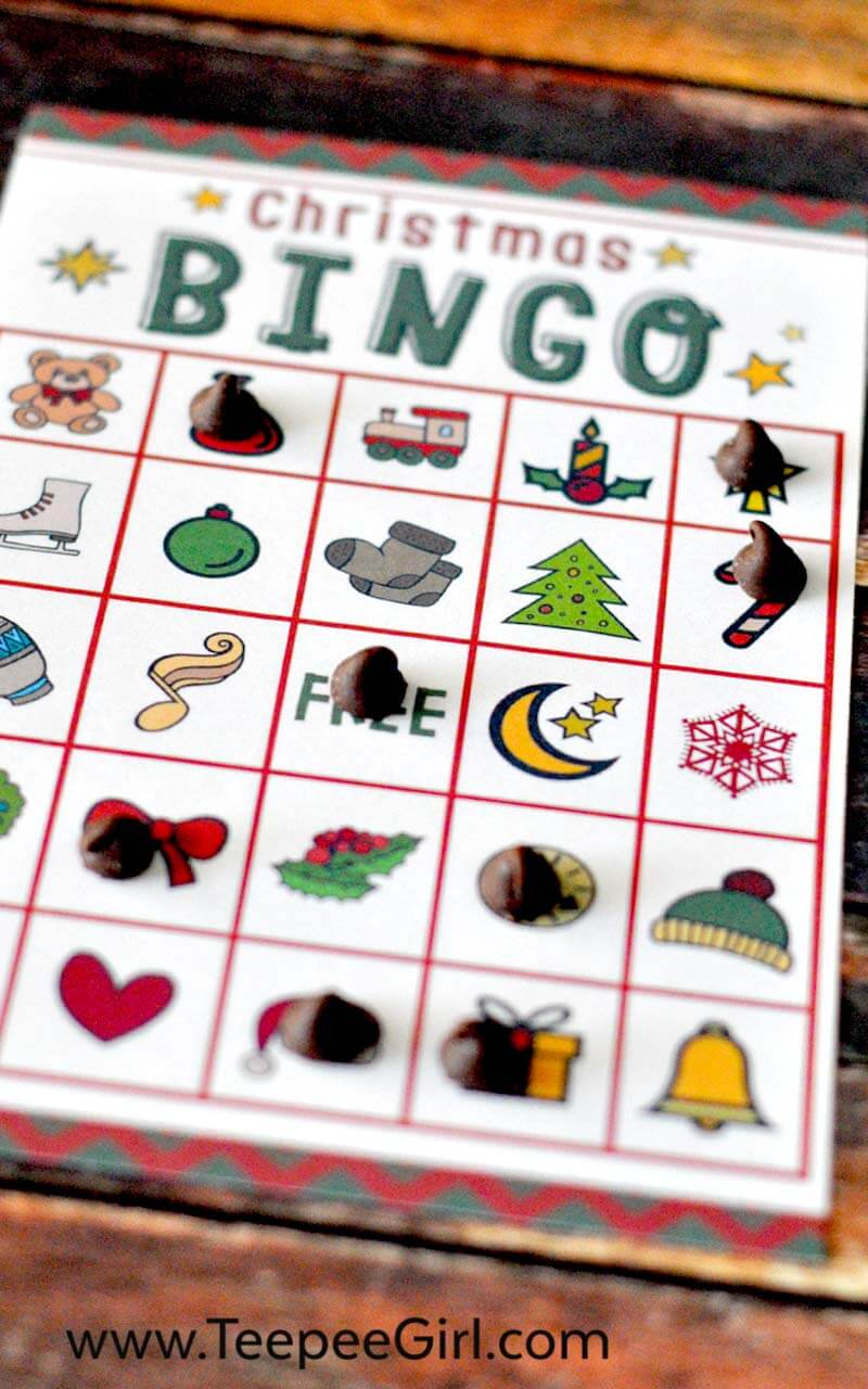 This free Christmas Bingo printable game is the perfect (and easy!) way to add holiday fun to all your Christmas parties this year! Click here to get your free bingo game (and other great holiday ideas) from www.TeepeeGirl.com!