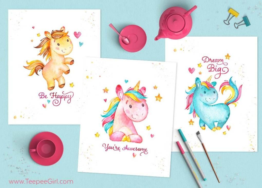 Grab these free 8x10 unicorn printables at www.TeepeeGirl.com!