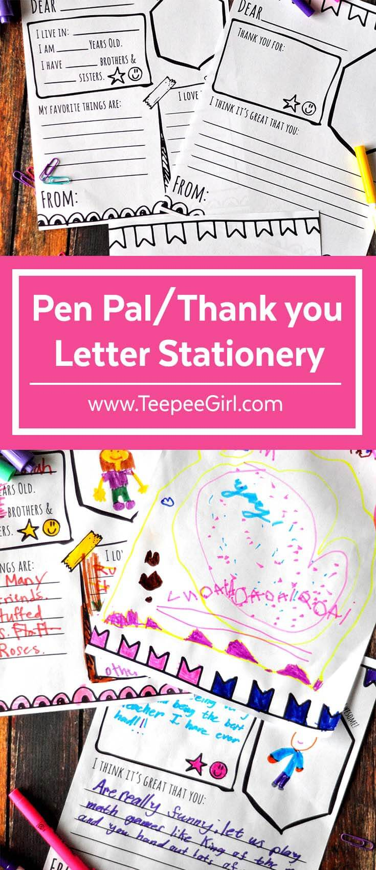 Use these pen pal and thank you letter stationery to write notes to friends, neighbors, and teachers. It's perfect for Activity Days or any other time you want to share gratitude and friendship! Download them today at www.TeepeeGirl.com.
