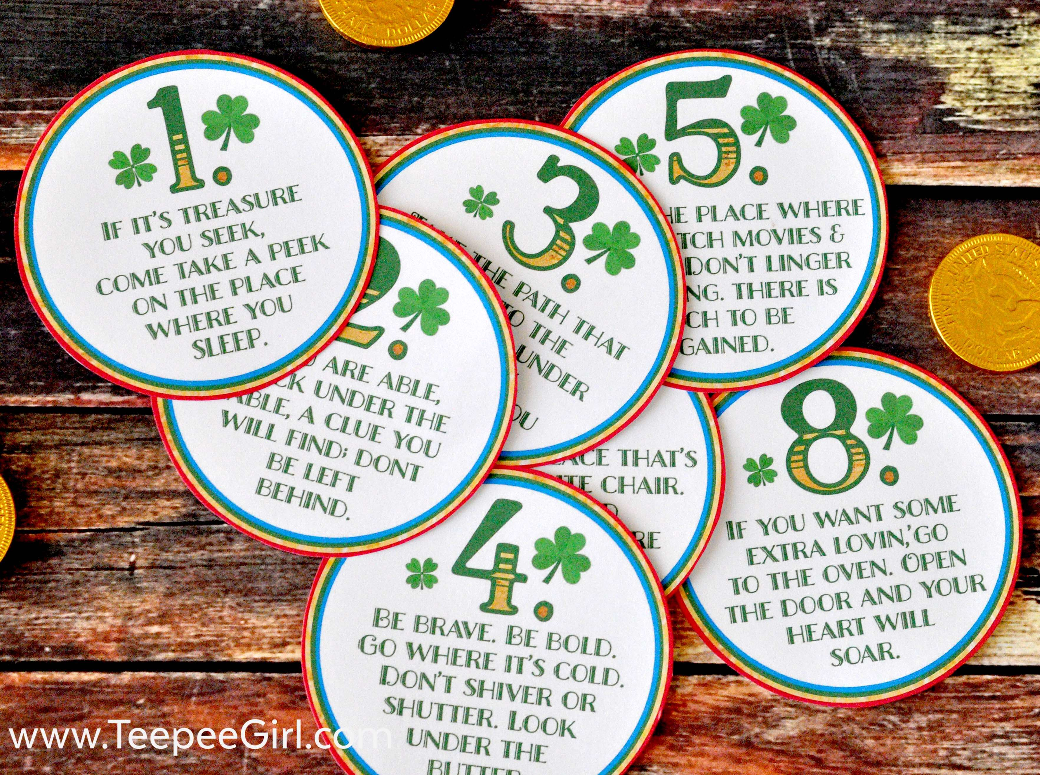 Your kids will love this FREE St. Patrick's Day Scavenger Hunt! Just print and cut out the printables, and watch your kids race to find their treasure! This activity comes with 8 clues and a treat topper. Get it today at www.TeepeeGirl.com!