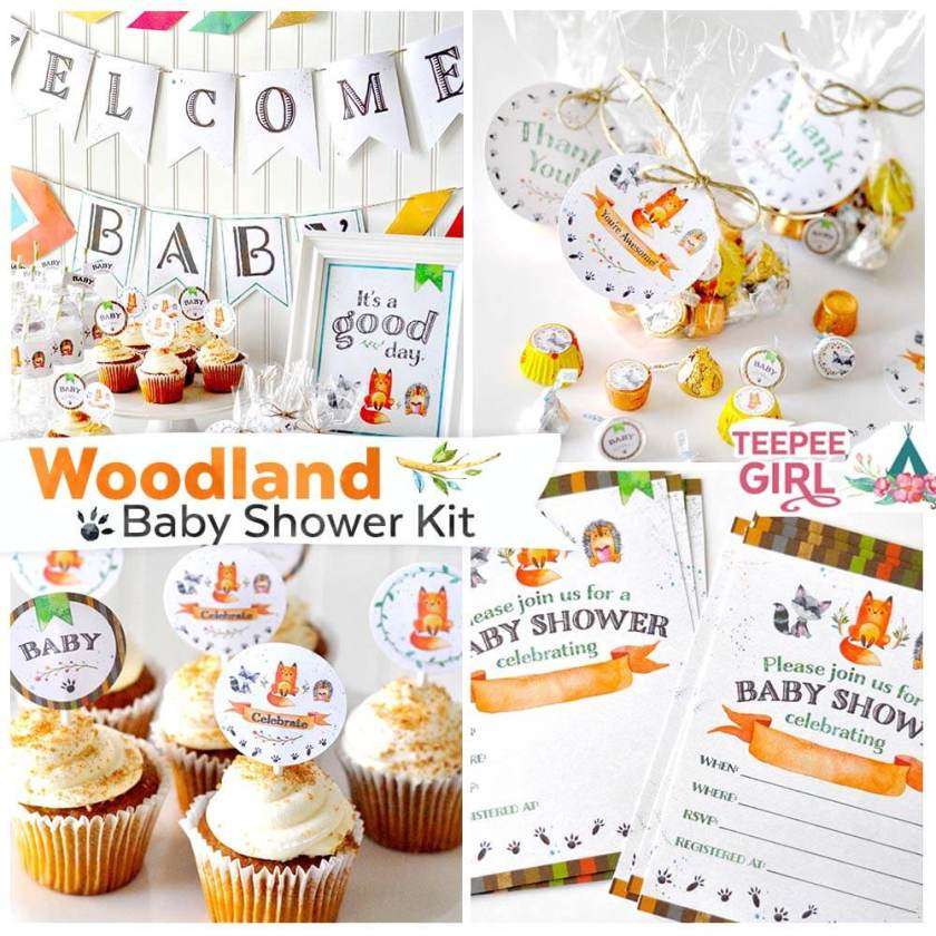 This Woodland Baby Shower Kit is perfect for your next baby shower! The colors and graphics are perfect for any shower and these printables make your next party so EASY to put together! www.TeepeeGirl.com