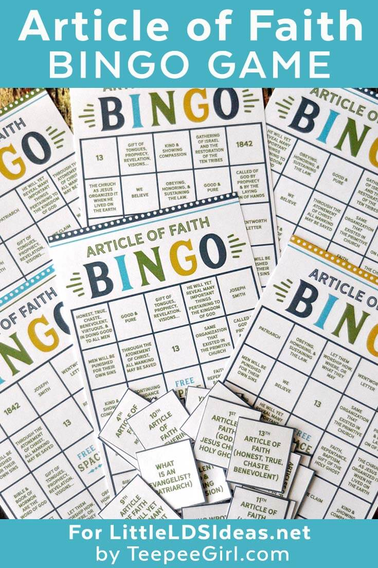 Get this free Article of Faith Bingo game to help Acitvity Days boys and girls learn and remember their Articles of Faith. www.LittleLDSIdeas.net