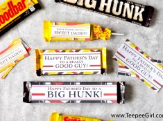 Get these free Father's Day candy gift tags from www.TeepeeGirl.com!