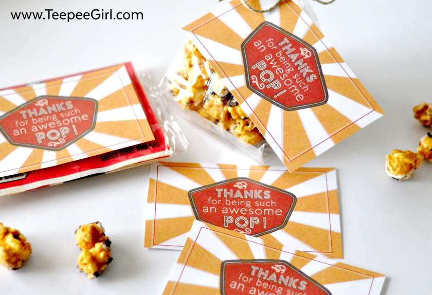 "These free Father's Day gift tags are perfect for adding some love to popcorn or soda! ""Thanks for being an awesome pop!"" Get it today at www.TeepeeGirl.com!"